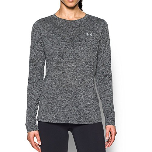 - Under Armour Womens Tech Twist Crew Long Sleeve Shirt,  Black /Metallic Silver,  Medium