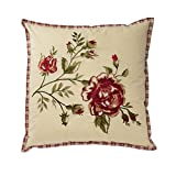 WAVERLY 14771020X020TSN Norfolk 20-Inch by 20-Inch Embroidered Decorative Pillow, Tea Stain