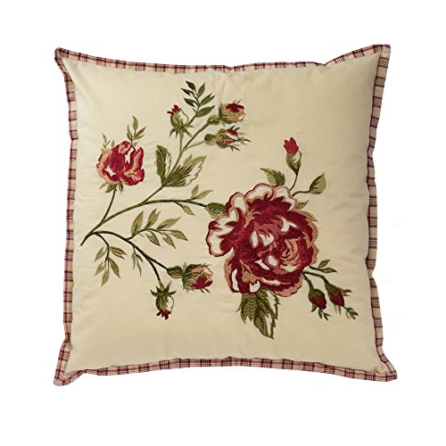 Waverly 14771020X020TSN Norfolk 20-Inch by 20-Inch Embroidered Decorative Pillow, Tea Stain ()