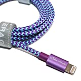 [Apple MFi Certified] Tera Grand Lightning to USB Braided Cable with Aluminum Housing, 4 Feet for iPhone Xs XS Max XR X 8 8 Plus 7 7 Plus iPad Pro Air Mini iPod (Purple & Blue)