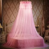 Lustar Court Style Mosquito Net Bed Canopy Children Fly Insect Protection Indoor Decorative Height 270cm Top Diameter 50cm 1.2-2m Bed,Pink