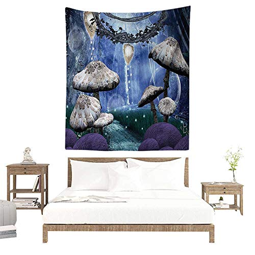 alisoso Wall Tapestries Hippie,Trippy,Abstract Dreamlike Forest Scenery at Night with Mushrooms Pixie Dust and Bubbles,Cloth,Multicolor W51 x L60 inch Tapestry Wallpaper Home Decor