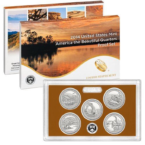 National Park Quarters Proof Set 2014 S 5 Coin Proof With Box & Certificate