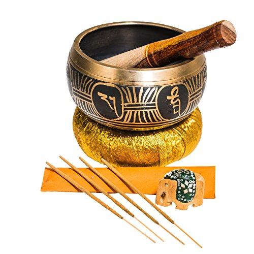"Tibetan Handmade 5"" Singing Bowl Set by ZENITA ~ With Mallet, Silk Cushion, Incense Sticks & Elephant Holder ~ Good For Yoga, Meditation & Chakra (Prayer Stick)"