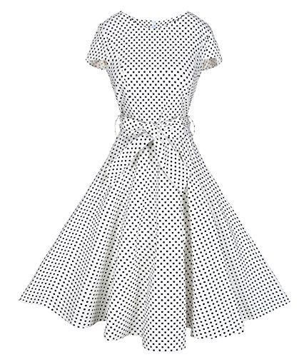 BI.TENCON Retro 1950s Empire Waist White Black Small Polka Dot Printed Cotton Vintage Prom Dress with Cap-Sleeves Plus 2XL ()