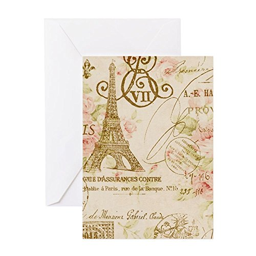 Abstract Art Blank Note (CafePress - Elegant Paris Eiffel Tower Floral Art Greeting Car - Greeting Card (20-pack), Note Card with Blank Inside, Birthday Card Matte)