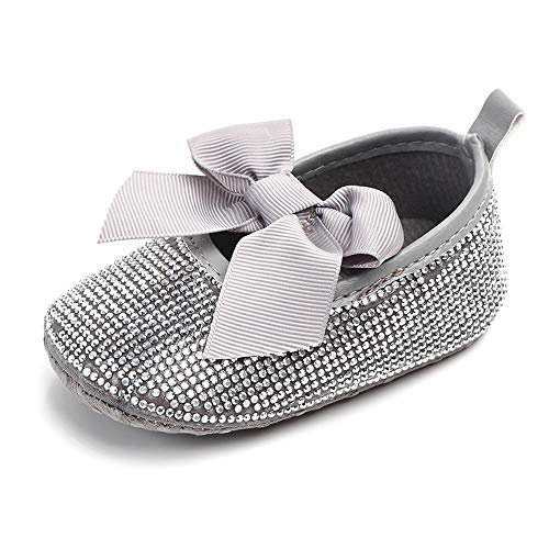 Z-T FUTURE Infant Baby Girls Shoes Cute Bow Diamonds Sparkly Mary Jane Crib Dress Princess Shoes (0-6 Months M US Infant, 1-Diamond Grey)