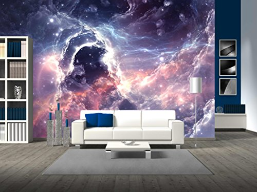 Plasmatic Nebula Deep Outer Space Background with Stars