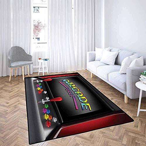 LAURE Area Alfombra Area Mat Alfombra Videojuegos Arcade Machine Retro Gaming Fun Joystick Botones Vintage 80s 90s Electronic Multic