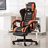 New Gaming Chair PU Leather Reclining Chair-Executive and Ergonomic Style Swivel Chair with Adjustable (Massage) Lumbar Cushion, Headrest and Footrest.