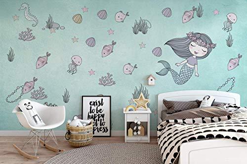 Murwall Kids Wallpaper Mermaid Ariel Wall Mural Underwater Wall Print Seashell Seaweed Starfish Wall Art Girls Bedroom Baby Rooms