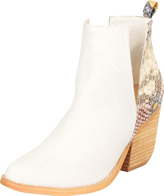 Cambridge Select Women's Western Pointed Toe Side V Cutout Chunky Stacked Block Heel Ankle Bootie