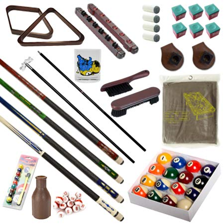 Pool Table - Premium Billiard 32 Pieces Accessory Kit - Pool Cue Sticks Bridge Ball Sets (Kit-3)