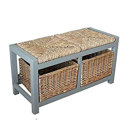 Super Amari Leisure Gloucester 2 Seater Storage Bench In Blue Grey Finish 2 X Wicker Rattan Basket Drawers Cabinet Farmhouse Gamerscity Chair Design For Home Gamerscityorg