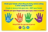 Hand Washing Instructions for Kids - Classroom Poster - Non-Laminated - 12 x 18 in.