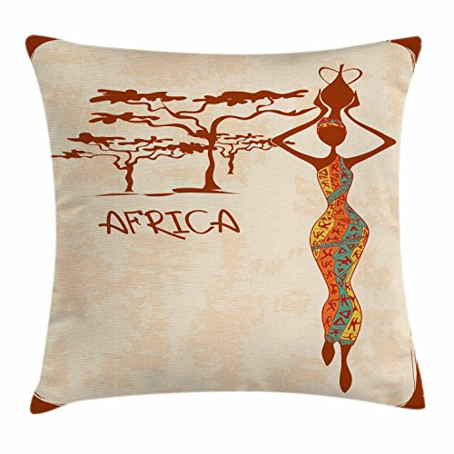 Ambesonne African Woman Throw Pillow Cushion Cover, Vintage Africa Themed Illustration Slim Indigenous Girl Figure Colorful Dress, Decorative Square Accent Pillow Case, 28 X 28 inches, Multicolor by Ambesonne