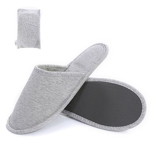 SUSYBAO Travel Slippers Super Soft Foldable Knitted Cotton House Shoes with Non-Slip Sole Breathable Lightweight Washable with Portable Pocket for Home Hotel Spa Airplane Solid Grey]()