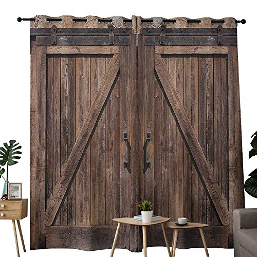 (NUOMANAN Bedroom Curtains 2 Panel Sets Rustic,Wooden Barn Door in Stone Farmhouse Image Vintage Desgin Rural Art Architecture Print, Beige,Complete Darkness, Noise Reducing Curtain 84