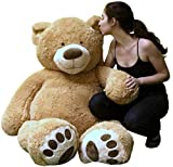 Big Plush Giant Teddy Bear 5 Feet Tall Tan Color Soft Smiling Big