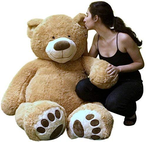 Big Plush Custom Personalized Giant 5 Foot Teddy Bear Customized with Your Message on Ribbon and Tshirt, You Choose Ribbon and Tshirt Color and Text, Hand-Stuffed in The USA, Not Vacuum-Packed
