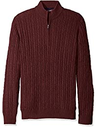 Men's Big and Tall Cable Solid 1/4 Zip Sweater