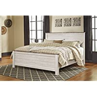 Willannet Casual Whitewash Color Wood King Bed