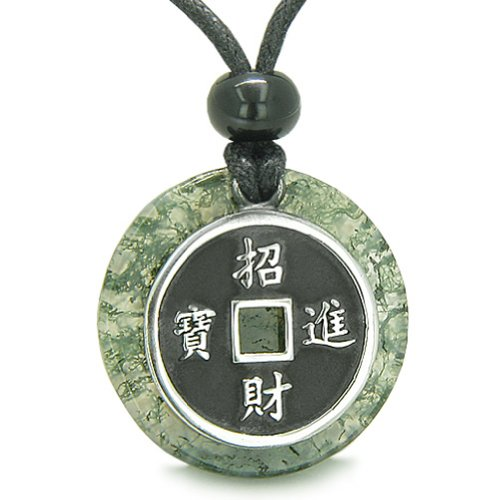 Amulet Lucky Coin Charm Medallion in Moss Agate Protection Antiqued Pendant Necklace