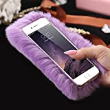 Lovely Case Galaxy S7,elecfan Furry Case Luxury Women Girly Cute Bling Diamonds Bowknot Design Fluffy Soft Warm Case Protective Back Cover for Samsung Galaxy S7 - Purple