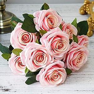 Ocamo Artificial Flowers Rose Bouquet Fake Flowers Silk Plastic Artificial Roses 10 Heads Bridal Wedding Bouquet for Home Garden Party Wedding Decoration 102