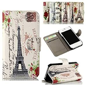 Eiffel Tower iPhone 5s Case,Beautiful Eiffel Tower Retro Vintage Luxury PU Flip Leather With Card Slots And Stand Case Cover For iPhone 5/5S/5G