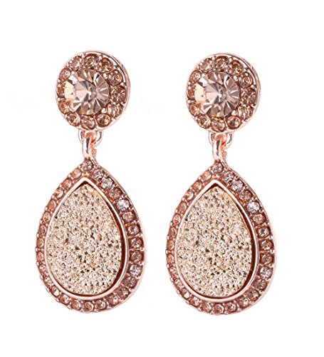 (NLCAC Tear Drop Earrings Glitter Double Rows Drop Dangle Earrings for Women (druzy rose gold))