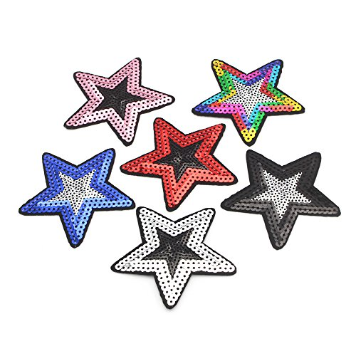 6pcs 7.5cm Star Sequins Patches Iron On Patch for Appliqued Clothes (Style 1)