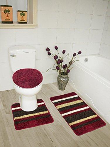 Abby 3 Piece Bathroom Rug Set, Bath Rug, Contour Rug, Lid Cover (Burgundy)
