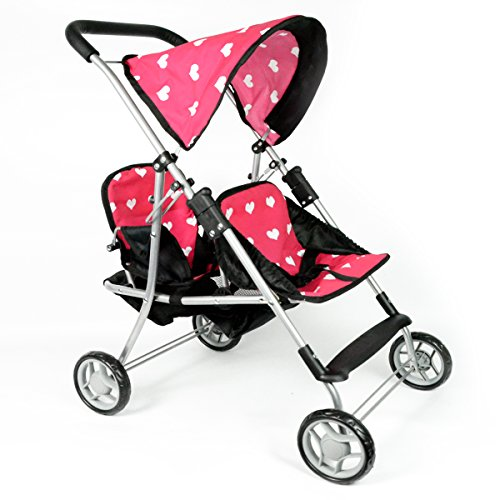 My First Doll Twin Stroller - Cutest Heart Design Doll Twins Stroller - Great Toy Gift for Girls (Stroller Doll Double Baby)