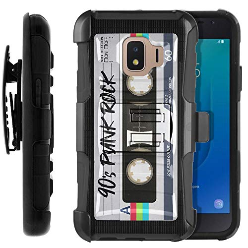FINCIBO Case Compatible with Samsung Galaxy J2 Core J260 5 inch 2018, Hybrid Curve Rigid Armor Protector Cover Stand TPU Holster for Galaxy J2 Core (NOT FIT J2) - Retro Black Cassette Tape Punk Rock
