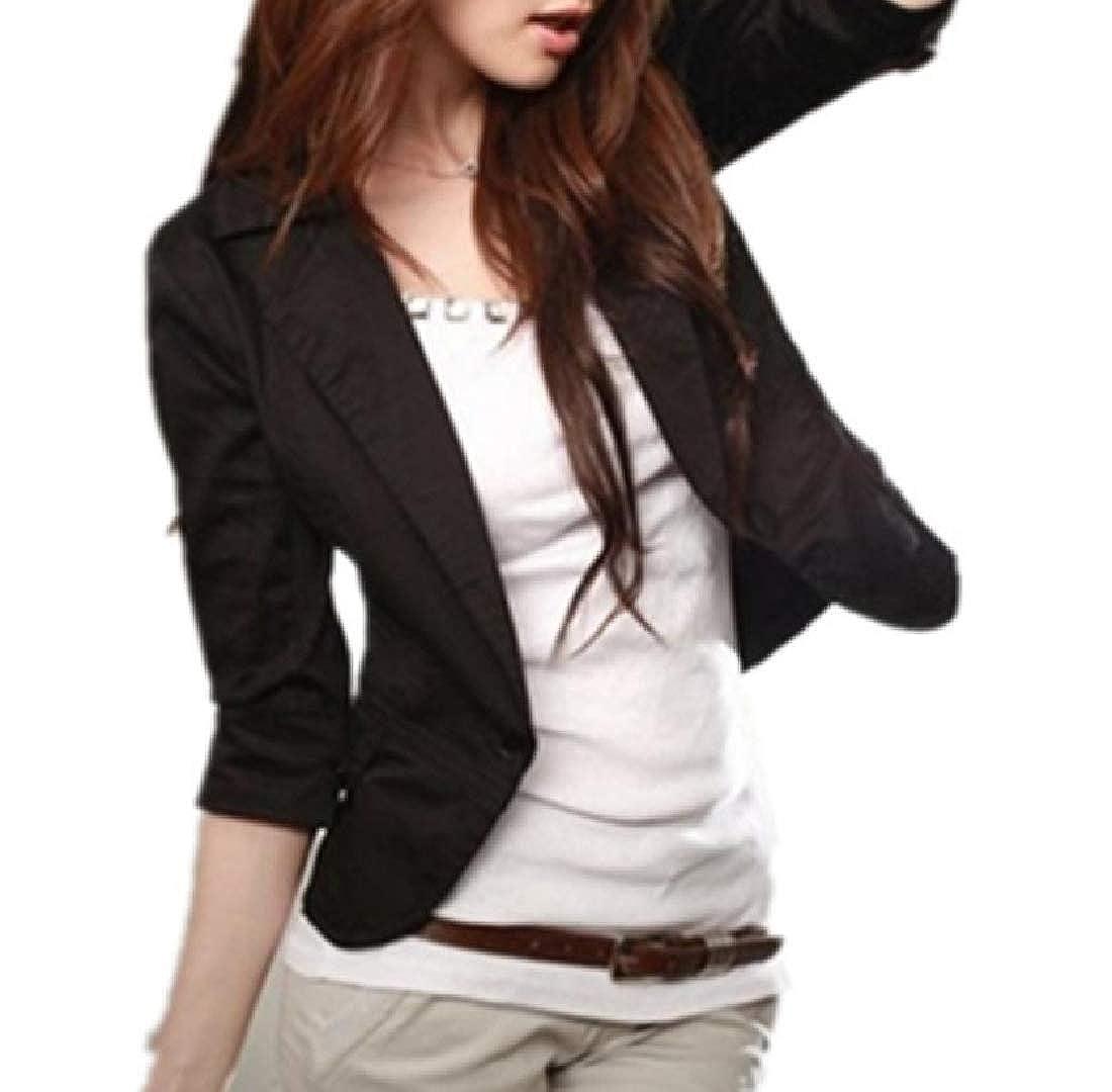 YUNY Womens Coat Blazer Work Office Slim 3//4 Length Notch Lapel Patch Black XS