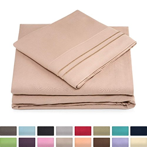 Queen Size Bed Sheets - Taupe Luxury Sheet Set - Deep Pocket - Super Soft Hotel Bedding - Cool & Wrinkle Free - 1 Fitted, 1 Flat, 2 Pillow Cases - Light Brown Queen Sheets - 4 Piece
