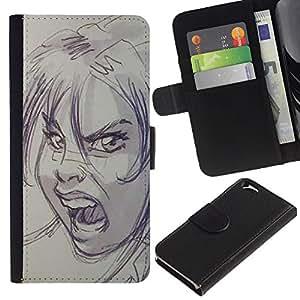 Billetera de Cuero Caso Titular de la tarjeta Carcasa Funda para Apple Iphone 6 4.7 / scream scary Halloween sketch angry / STRONG