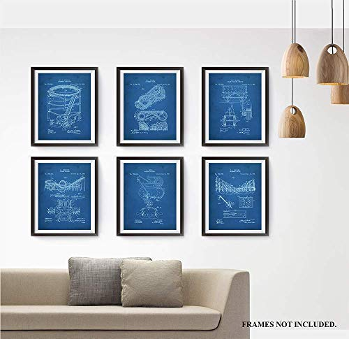 Roller Coaster - Patent Prints - Coney Island - Set of 6 Invention Patent Prints. Makes a Unique Gift for Anyone who Loves Roller Coasters - Art Wall Decor