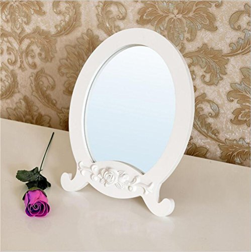 WAOBE Make-up mirror - Simple pastoral White wooden carved desktop small mirror Make-up mirror Vanity mirror Table mirror from WOABE