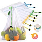 Reusable Produce Bags, Lavinrose Reusable Mesh Produce Bags with Drawstring & Tare Weight Tags, Durable Overlock-Stitched Strength, See-Through & Washable Storage Bags, Set of 9