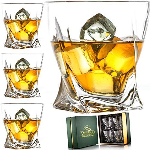 Amerigo Premium Whiskey Glass Set of 4 in Luxury Gift Box – Twist Whiskey Glasses 10oz for Scotch, Bourbon & Old…