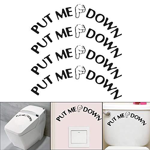 VintageBee 4 Pack DIY Removable Washroom Toilet Seat Decal Funny Reminder Decoration Bathroom Sticker,Put ME Down