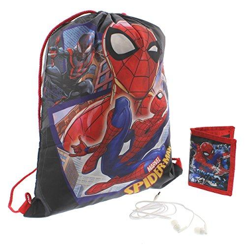 Marvel Spider-Man Boys Drawstring Backpack Headphones and Wallet Boxed Gift Set (Spider-Man Red/Black) (Spider Man Drawstring)