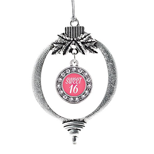 Inspired Silver Sweet Sixteen Circle Holiday Decoration Christmas Tree Ornament