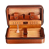 Master's Collection: Cohiba Spanish Cedar Leather Travel Humidor - Connoisseur's Travel Case for 4 Cigars (Cutter & Lighter Sold Separately!)