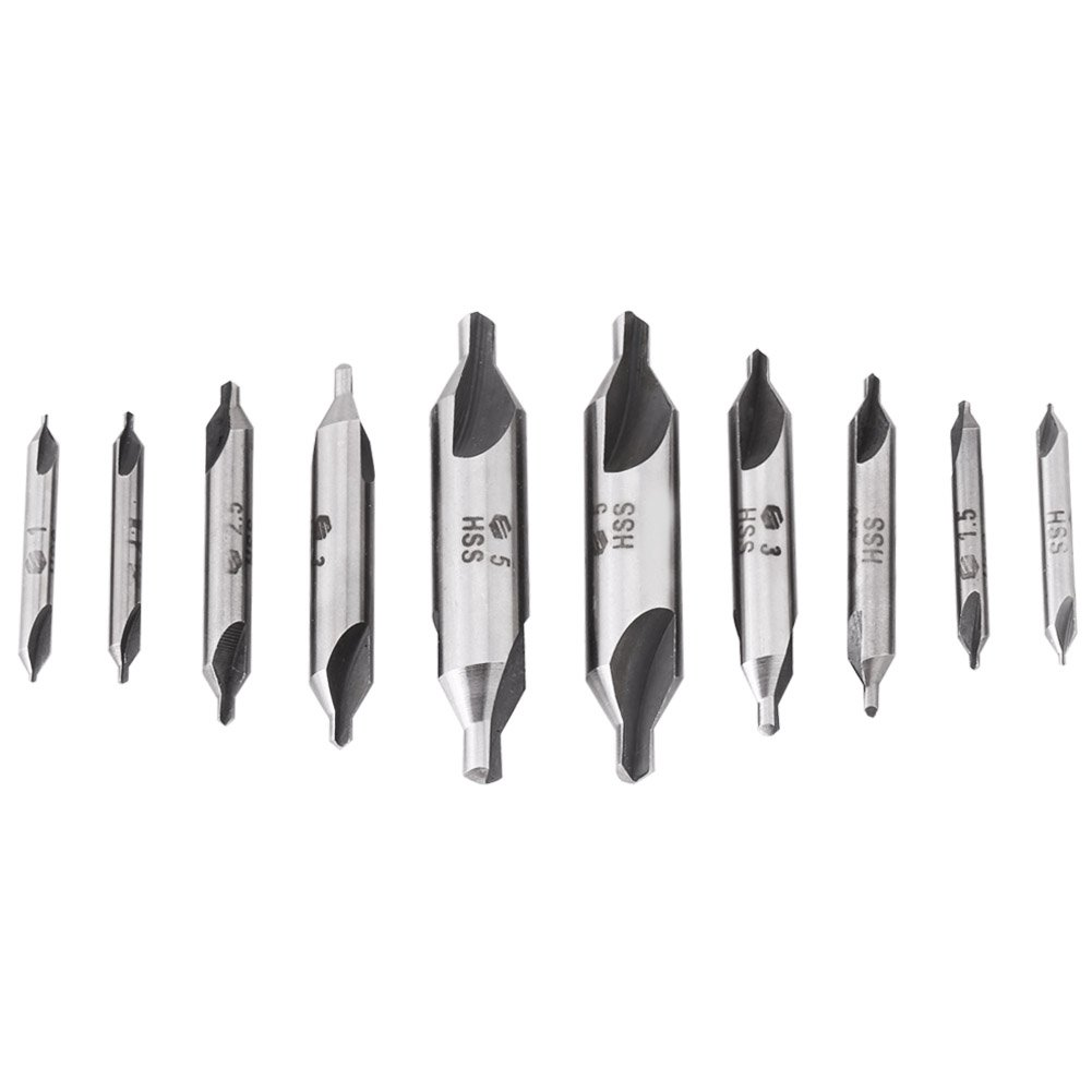 Center Drill Countersink Lathe Bit Mill Tooling Set Tip Angle 60 Degree Bits for Metal Copper Wood 10Pcs Lathe Mill Combined Center Drill