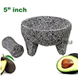 Molcajete Mini Small 5.5'' Mortar & Pestle Salsera Salsa Guacamole Tejolote Metlapil Lavastone Aztec Mayan Toltec Volcanic Rock Ancient Traditional Pre-Hispanic Antique Grinding Stone Metlapil Bowl