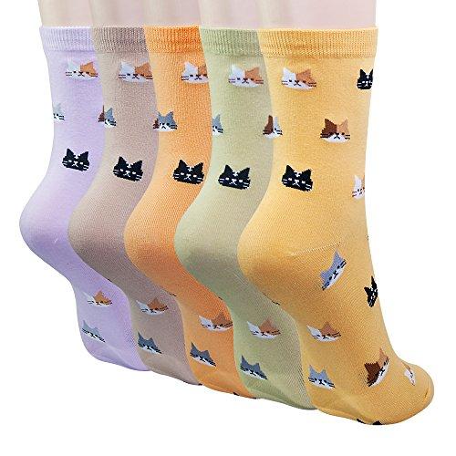 KONY 5 Pack Women's Cute Animal Socks Cotton Cat Dog Duck Patterned Novelty Fun Crew Socks Gift Size 6-9 (Mini Cats)