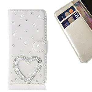 - Love Heart/ Slot Card Flip Case Cover Skin Bling Rhinestone Crystal Leather - Cao - For LG Optimus F60